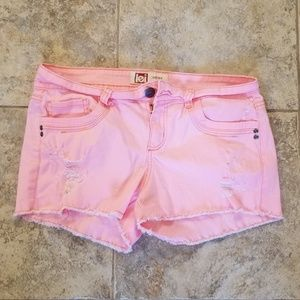 LEI Good Condition Pink Distress Jean Short Shorts